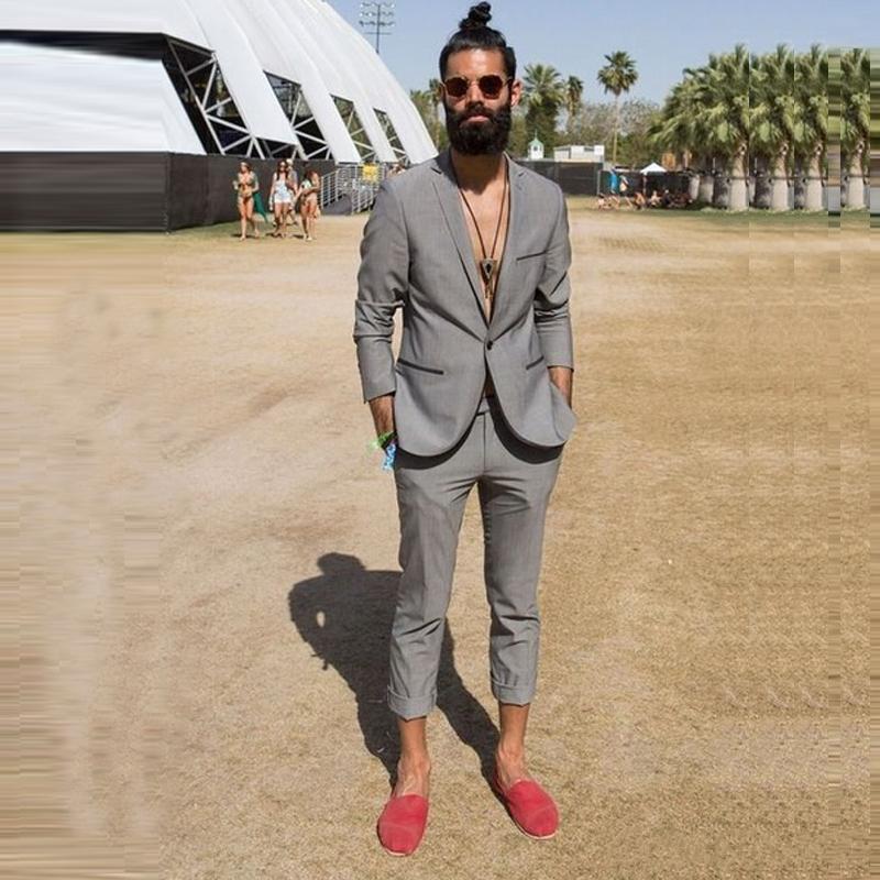 New Men Suits Casual Summer Beach Wedding Groom Tuxedos 2 Pieces (Jacket+Pants) Bridegroom Best Man Blazer