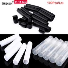 100 adet 5ml boş dudak parlatıcısı tüpleri boş kozmetik kapları ruj kavanoz balsamı dudak parlatıcısı tüp başlığı konteyner seyahat makyaj araçları