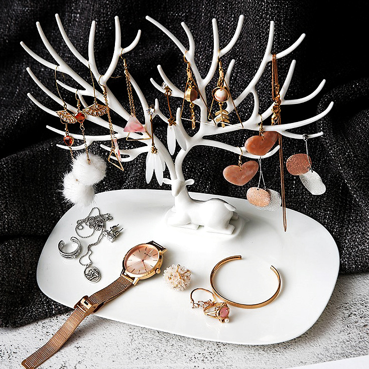 Little Deer Earrings Necklace Ring Pendant Bracelet Jewelry Display Stand Tray Tree Storage Racks Jewelry Organizer Holder
