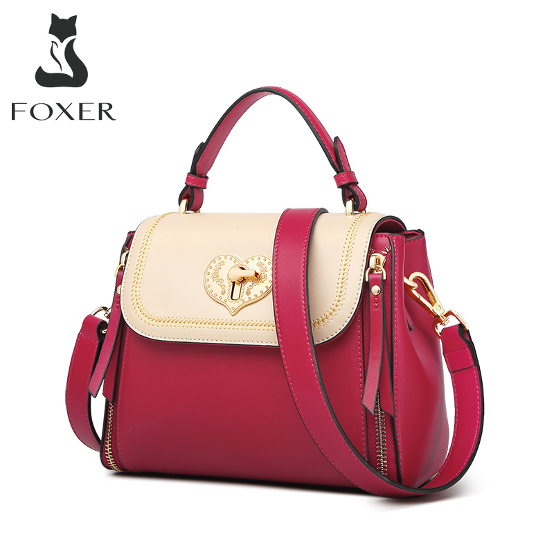 FOXER Luxurious Red Lady Shoulder Bag Cowhide Female Fashion  Messenger Bag Women Business Bag Commuter Totes For Girl New Purse