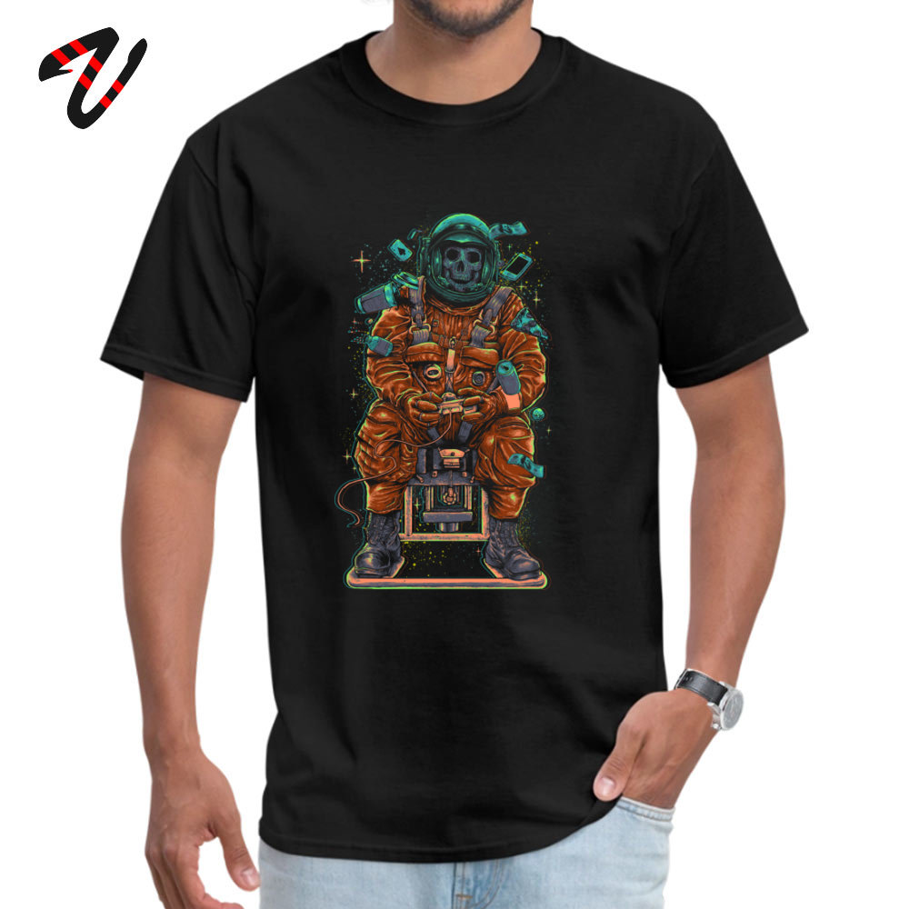 Alone in Space Cosmonaut Dead Skull Printed T Shirts Autumn O-Neck Pure Cotton Male Tops T Shirt All Saints' Day Top Quality image