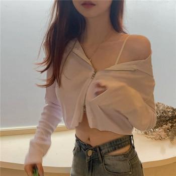 GOOHOJIO 2020 New Solid Color Sun Protection Cardigan for Women Harajuku Crop Top Womens Coats Sexy Vintage Women Tops Autumn