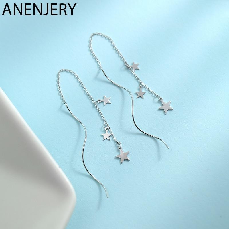 ANENJERY Delicate Silver Color Chain Earrings Star Wave Long Tassel Earrings For Women Gift pendientes oorbellen S-E950