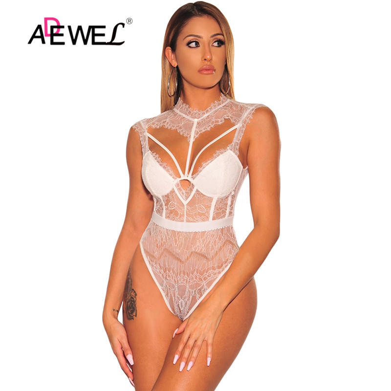 ADEWEL White Sheer Lace Strappy Bustier Bodysuits Backless Hollow Out Sexy Woman Black Sleeveless Female Body Tops Bodysuit
