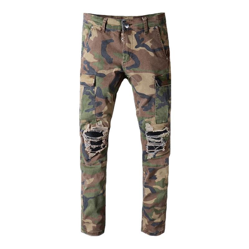 Fashion Streetwear Men Jeans Camouflage Military Cargo Pants Spliced Ripped Jeans Men Punk Slim Fit Patchwork Hip Hop Jeans