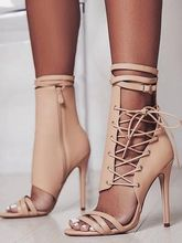 где купить Women Gladiator Boots Ankle Strap Lace Up Cut Out Stiletto Shoes Open Toe Apricot Zipper Short Booties Designer Summer Boots дешево