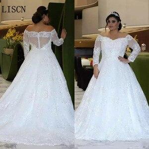 Plus rozmiar Party Off the Shoulder suknia ślubna z długim rękawem z Sweep Train kryształowe koronki z kryształkami suknia ślubna dla nowożeńców robe de marie