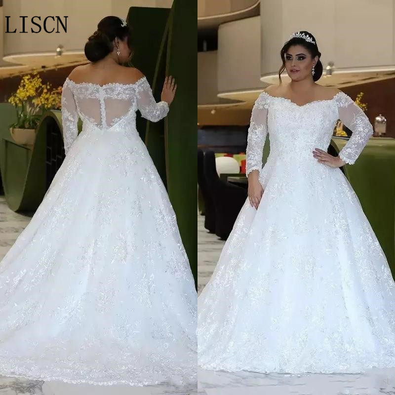 Sweep Train Party Off The Shoulder Long Sleeve Plus Size Wedding Dress Long Sleeve A-line White Crystal Beaded Lace Bridal Gowns