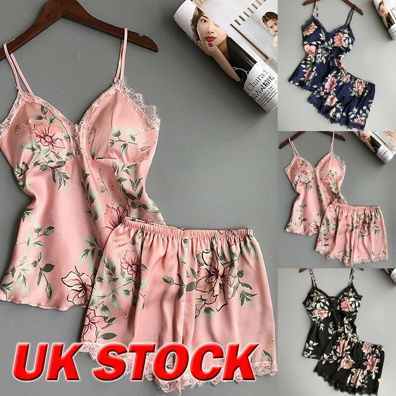 Women Satin Lace Floral Sleepwear Babydoll Sexy Lingerie Nightwear Shorts Pjs Pyjamas Set Nightdress Nightgown Sleepwear