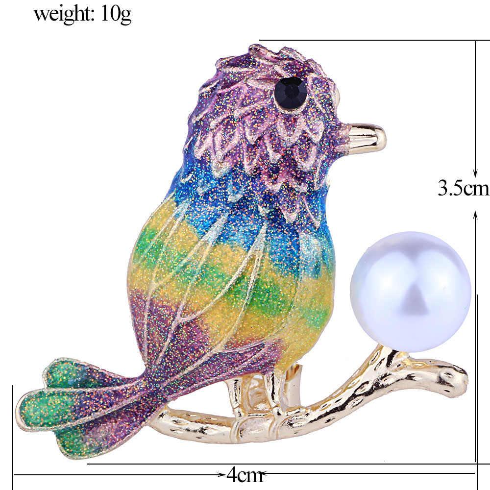 Farlena Dei Monili di Modo Dello Smalto Uccello Spilla Distintivi E Simboli Elegante Perla Simulata Spille per Le Donne Sciarpa Spilli