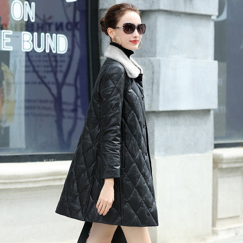 Genuine Leather Jacket Women Sheepskin Duck Down Winter Coat Women Real Mink Fur Collar Coat Women Clothes 2020 YY987