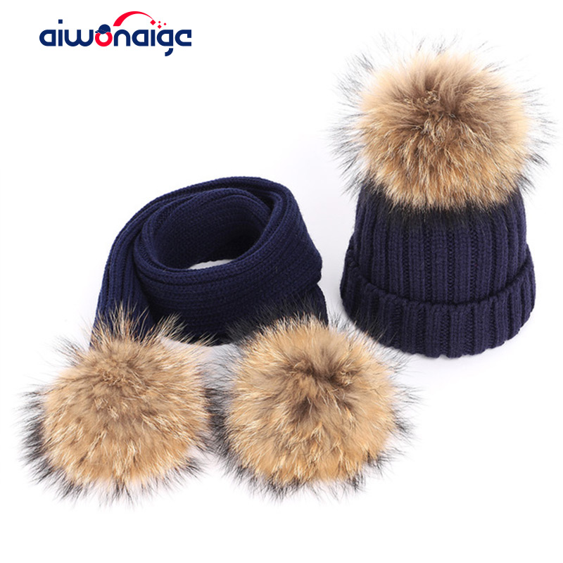 Autumn And Winter Women's Knitted Cotton Hats Warm Raccoon Fur Pom-pom Children's Knitted Ski Hat Scarf Parent-child Caps Beanie