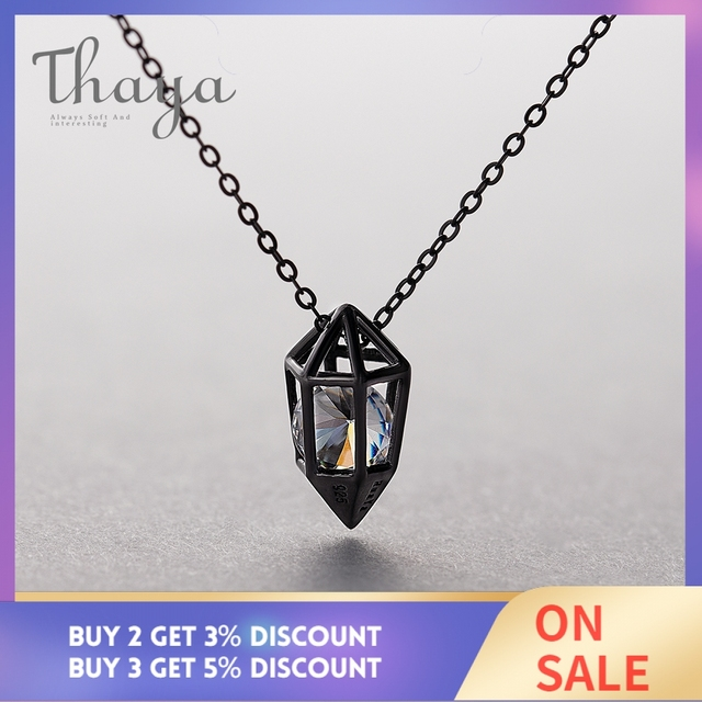 Thaya Diamond Heart Pendant Necklace s925 silver Black Chain Protect cubic zircon simple Dainty Jewelry for women Gift