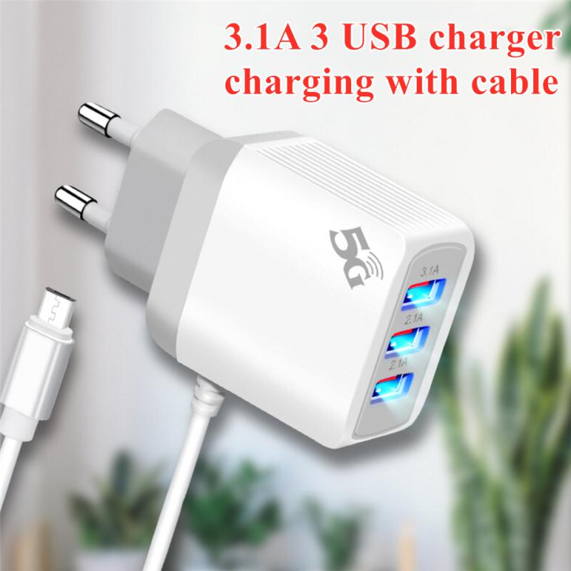 3.1A 3 USB Charger With Micro USB Cable Charger Fast Charging Mobile Phone Accessories for Xiaomi Samsung Huawei phone charger