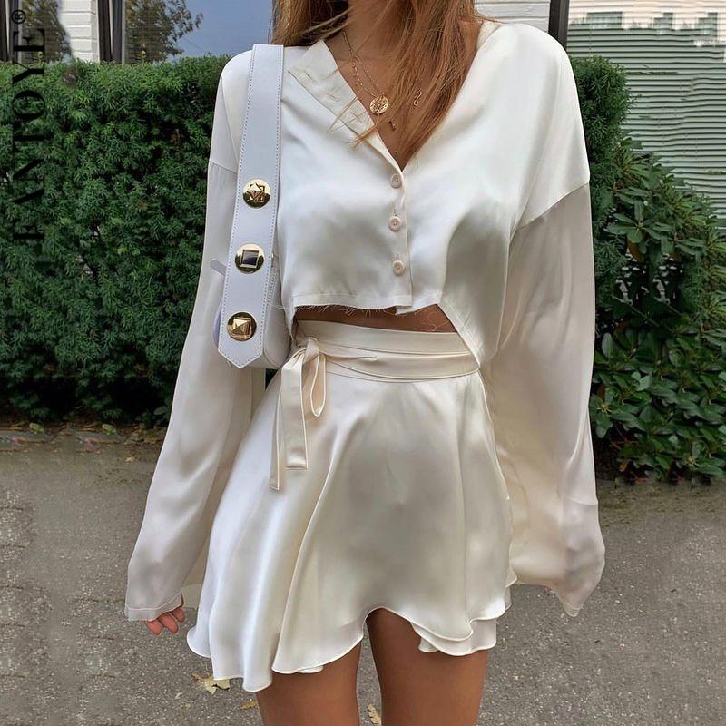 Fantoye Casual Satin Zwei Stück Kleid Set Für Frauen Weiß Oansatz Taste Top Bandage Mini Bleistift Röcke Outfits Fashion Party anzug