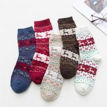 5 Pair Winter Christmas Socks Set  Warm Wool Santa Woolen Snowflake Deer Cute Meias for Woman