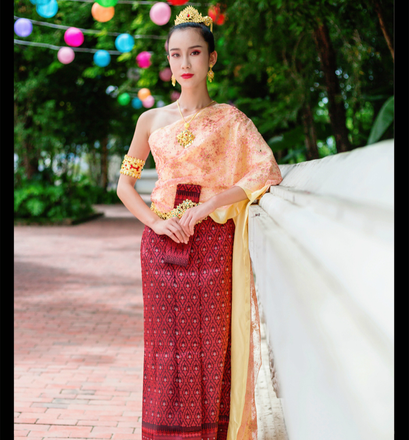Thailand Traditional Clothing Single Shoulder Sleeveless Tops Shawl Pha Sin Hotel Restaurant Welcome Costume Thai Dress