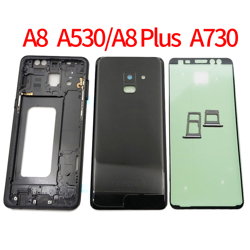 Full Housing case For Samsung Galaxy A8 2018 A530 A530F A8 Plus A730 A730F Front Glass Middle frame Battery Back Door Rear Cover