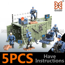 4Pcs/set Military Army World War II WW2 City SWAT Police Soldiers Command Figures Building Blocks Bricks Toys For Children Gift
