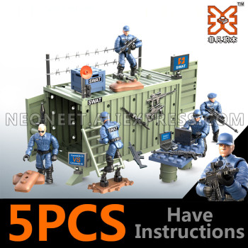 4Pcs/set Military Army World War II WW2 City SWAT Police Soldiers Command Figures Building Blocks Bricks Toys For Children Gift huiqibao 686pcs magic world hedwig building blocks city wizarding world enchanter owl animal figures bricks toys for children