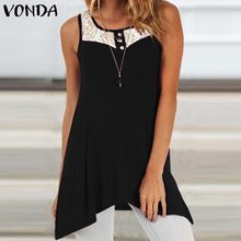 VONDA Women Blouse Tops 2020 Sexy Sleeveless O-Neck Solid Lace Hollow Out Irregular Hem Shirts Casual Tank Tops Plus Size Tunic
