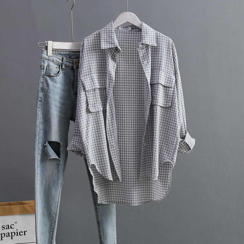 קוריאני אופנה גבירותיי חולצות חולצה משובצת נקבה חולצות לחצן למטה סתיו נשים חולצות דש ארוך שרוול חולצות בגדי 6819 50
