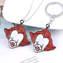 RJ Stephen King's It Keychain Keyring Pennywise Figure Brooch Pin Horror Movie Clown Choker Women Men Halloween Cosplay Jewelry(China)