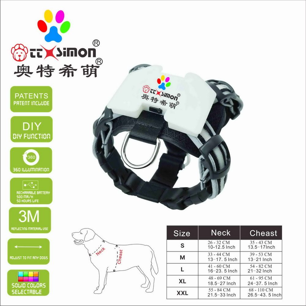 led colar dog rechargeable dog accessories for large  Reflective Harnesses for Dogs 2021