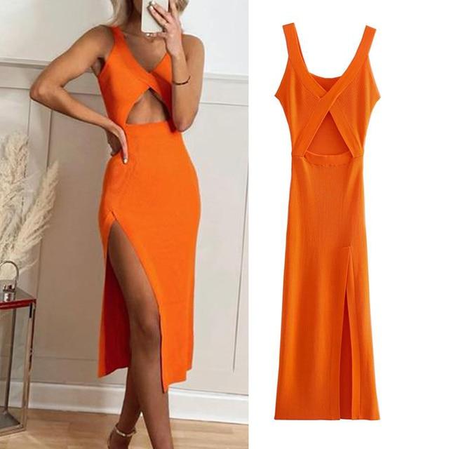 Dress Za fashion simple stretch tight V-neck hollow women dress 2021 summer new style 100% cotton chic street party Dress women 1