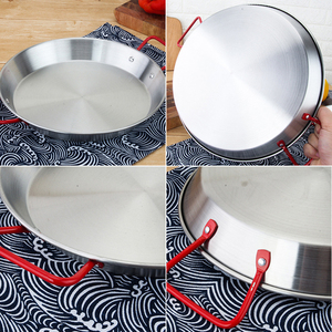 Image 5 - 20 30 Cm Verdikte Rvs Non stick Paella Pan Spaans Zeevruchten Frituren Pot Wok Kaas Fornuis Voedsel fruitschaal Container
