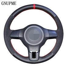 DIY Black Genuine Leather Suede Car Steering Wheel Cover for Volkswagen Golf 6 Mk6 VW Polo Jetta MK5 Sagitar Bora Santana