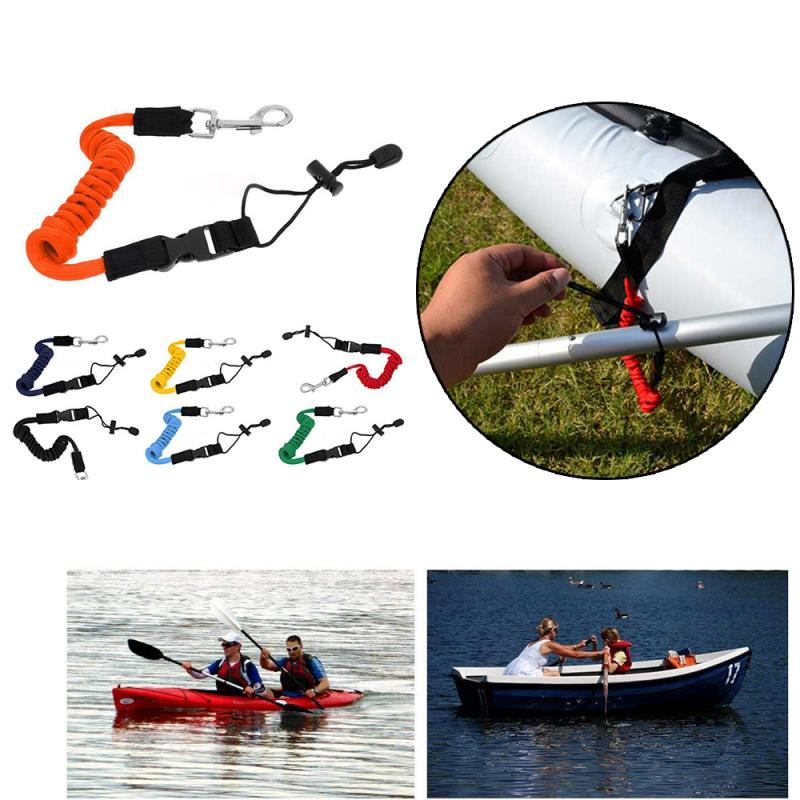 Elastic Kayak Canoe Tow Leash Tow Line Secure Lanyard With A Carabiner For Paddle Board Tow Leash Securing Lanyard