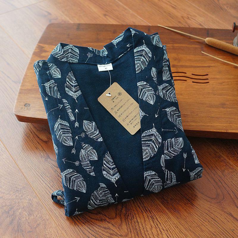 Summer New Male Japanese Style Bathrobe Pajamas Men 100% Cotton Sleepwear Loose Long Robe With Belt Sleeprobe Home Leisure Wear