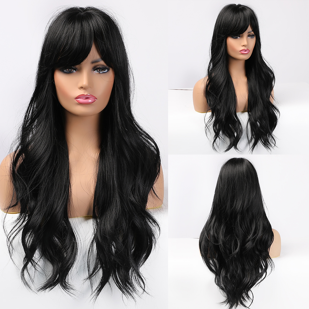 EASIHAIR Long Dark Brown Women's Wigs with Bangs Water Wave Heat Resistant Synthetic Wigs for Black Women African American Hair