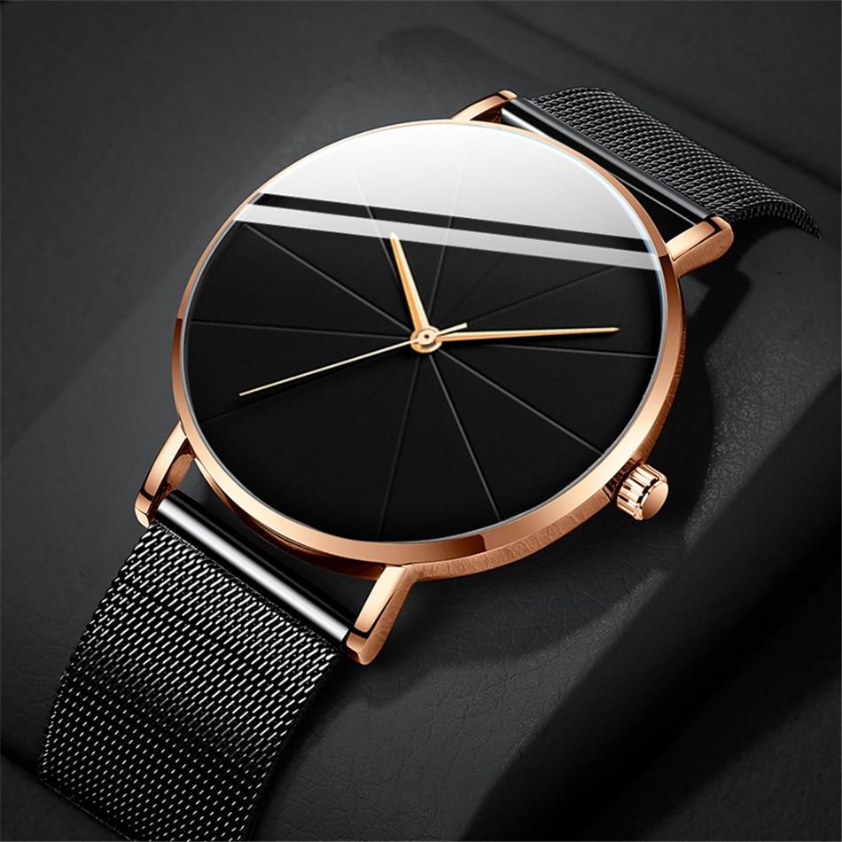 ultra fino aço inoxidável malha cinto relógio de quartzo reloj hombre