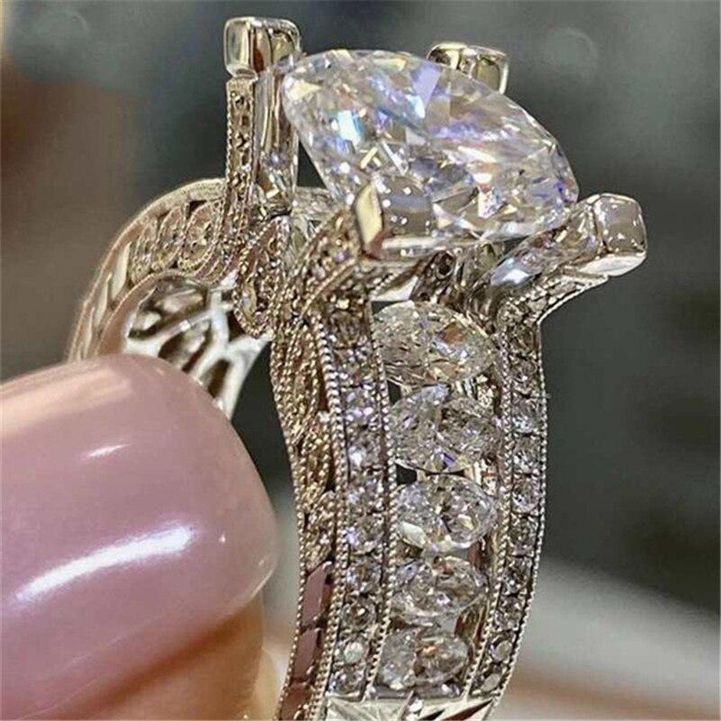 Origine argent Sterling 925 bijoux naturel Moissanite anneau avec coussin zircone Anillos De Tension réglage carré pierre gemme anneau