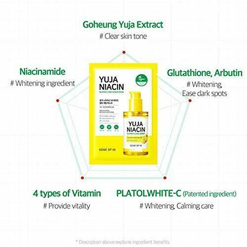 SOME BY MI Yuja Niacin Blemish Care Serum Mask 10ea Moisturizing Brighten Whitening Mask Oil-control Shrinkage Pore Antioxidant 3