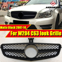 W204 C63 Style Front Grille Grill ABS Matter Black For MercedesMB C Class C180 C200 C300 350 Look Without Sign 07-14