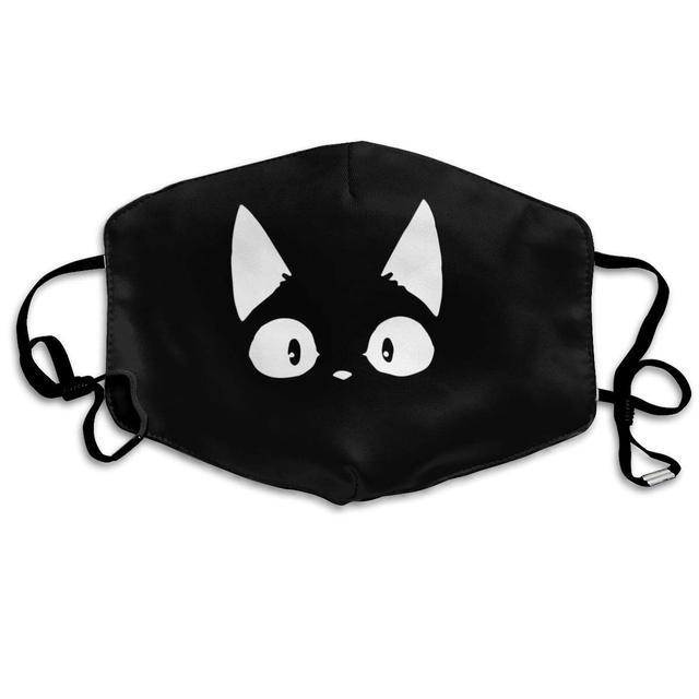 Unisex Mouth Mask for Kids Teens Men Women Lovers-Reusable Washable Windproof Motorcycle Face Masks Cat Kitten White Black