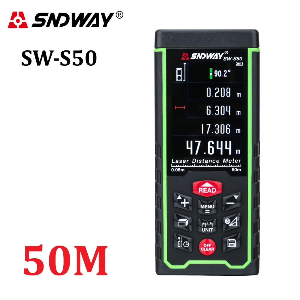 """""""SNDWAY"""" spalvotas ekranas 50m 164ft. Skaitmeninis daugkartinio įkrovimo lazerinis atstumo matuoklis - lazerinis atstumo matuoklis - įrankių pristatymas nemokamai"""