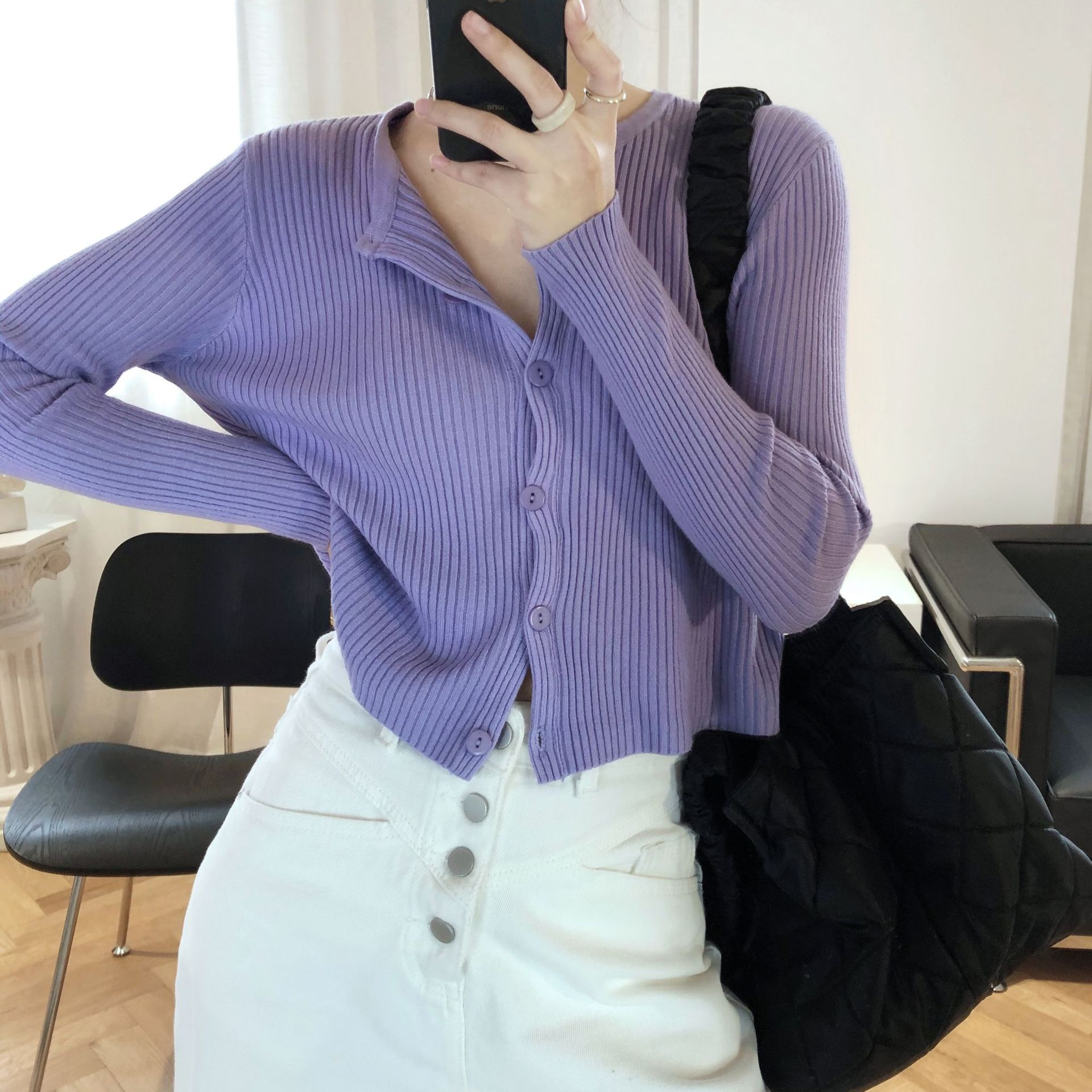 Women Cardigan Sweater New Fashion V-Neck Casual Coat Female Comfortable Style Knit Cardigan 2020 Spring Summer Knitted White