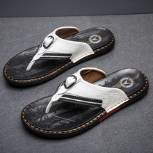 WEH top shoe brands Men's Flip Flops Genuine Leather Luxury Slippers Beach Casual Sandals Summer for Men Fashion Shoes white
