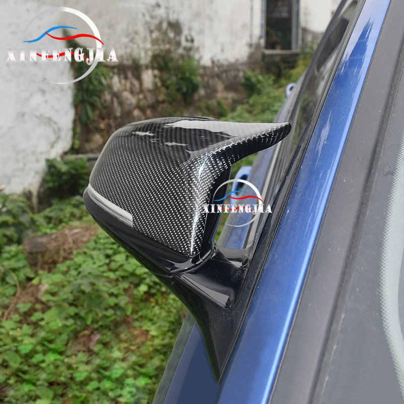 Per BMW 1 2 3 4 serie 3GT X1 F30 F34 F36 F22 E84 2 pezzi specchio retrovisore laterale in fibra di carbonio reale specchietto retrovisore sostituire il rivestimento del coperchio