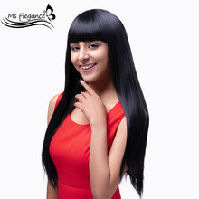 MS FLEGANCE 20In Long Straight Black Wig Synthetic Wigs for