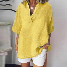 2019 Women Solid V Neck Blouse Summer Casual Batwing Sleeve Tunic Tops Cotton Linen Party Loose Shirt Femme Chemise Blusa v neck batwing sleeve striped linen shirt