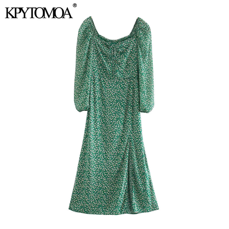 KPYTOMOA Women 2020 Chic Fashion Floral Print Side Slit Midi Dress VIntage Tied V Neck Lantern Sleeve Female Dresses Vestidos