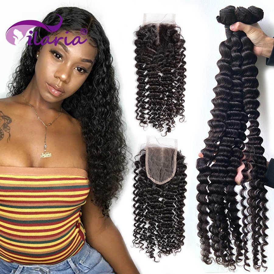 30 32 34 36 38 40 Inch Krullend Menselijk Haar Bundels Met Sluiting 100% Brazilian Hair Weave 3 4 Bundels met Vetersluiting Diepe Golf