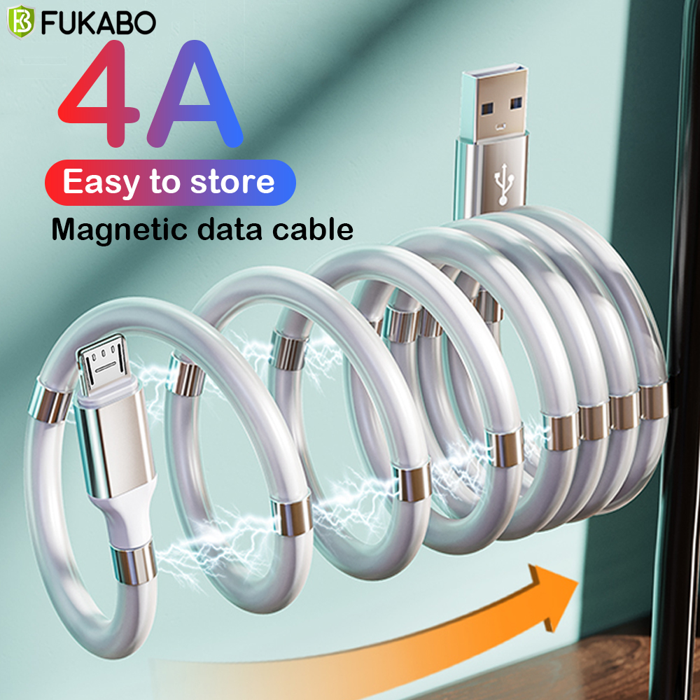 Magnetic Rope Fast Charging Data Sync Cord 4A USB Cable For Micro Type C Charger For
