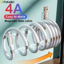 Magnetische Seil Schnelle Lade Daten Sync Kabel 4A USB Kabel Für Micro Typ C Ladegerät Für iPhone Xiaomi Huawei Samsung USB Daten Linie