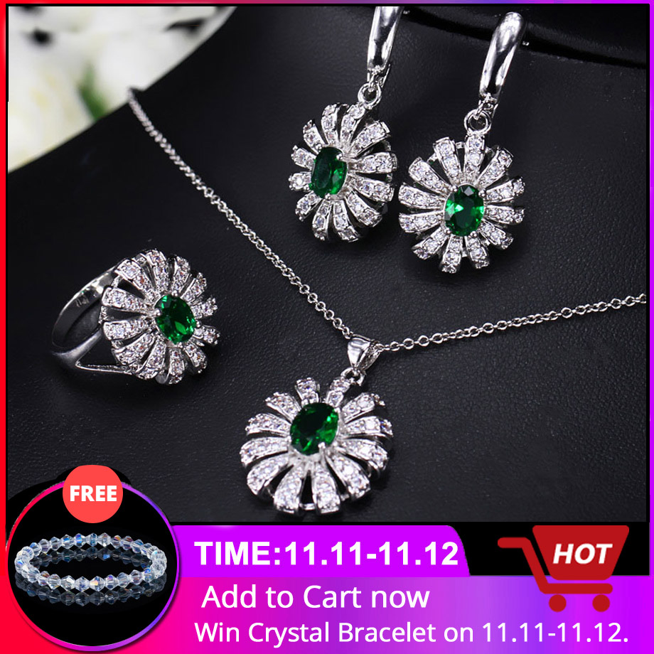 CWWZircons Lovely Flower CZ Stone and Green Crystal Necklace Earring Ring Set Fashion 925 Sterling Silver Jewelry For Women T282